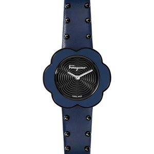 Salvatore Ferragamo Fiore Studded Strap Watch